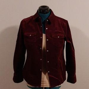 3/$18 EUC burgundy velvet like shirt (148)